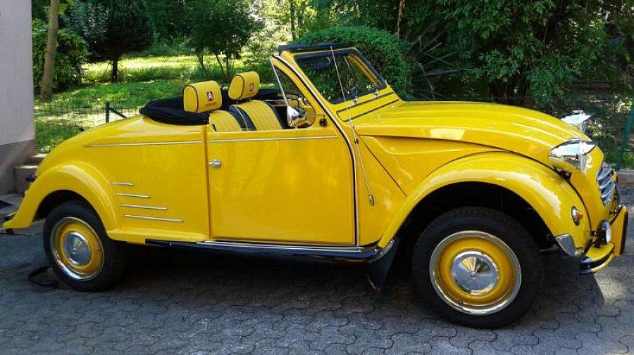 citroen 2 cv grand luxe hoffman cabriolet jaune occasion. Black Bedroom Furniture Sets. Home Design Ideas
