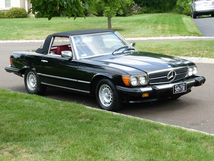 mercedes classe sl r107 450 sl cabriolet noir occasion. Black Bedroom Furniture Sets. Home Design Ideas
