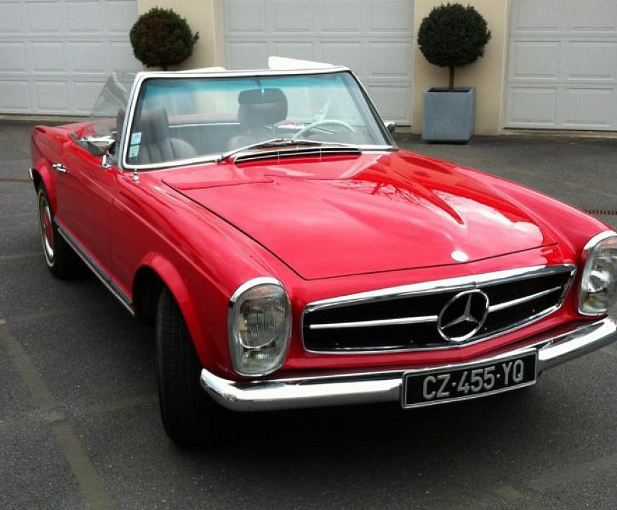 mercedes 280 w113 sl pagode cabriolet rouge occasion 109 000 22 500 km vente de voiture. Black Bedroom Furniture Sets. Home Design Ideas