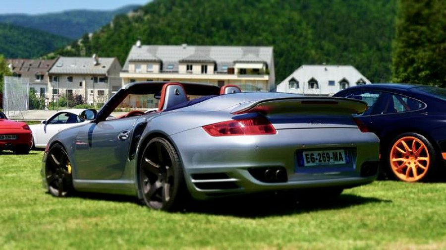 porsche 911 997 turbo 480ch pack sport cabriolet gris occasion 0 65 000 km vente de. Black Bedroom Furniture Sets. Home Design Ideas